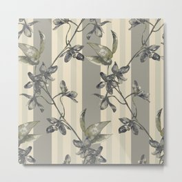 Flowers and Stripes One Metal Print