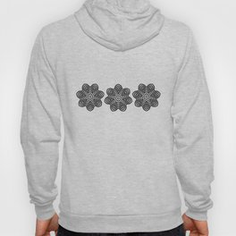 Three Black Concentric Flowers Hoody