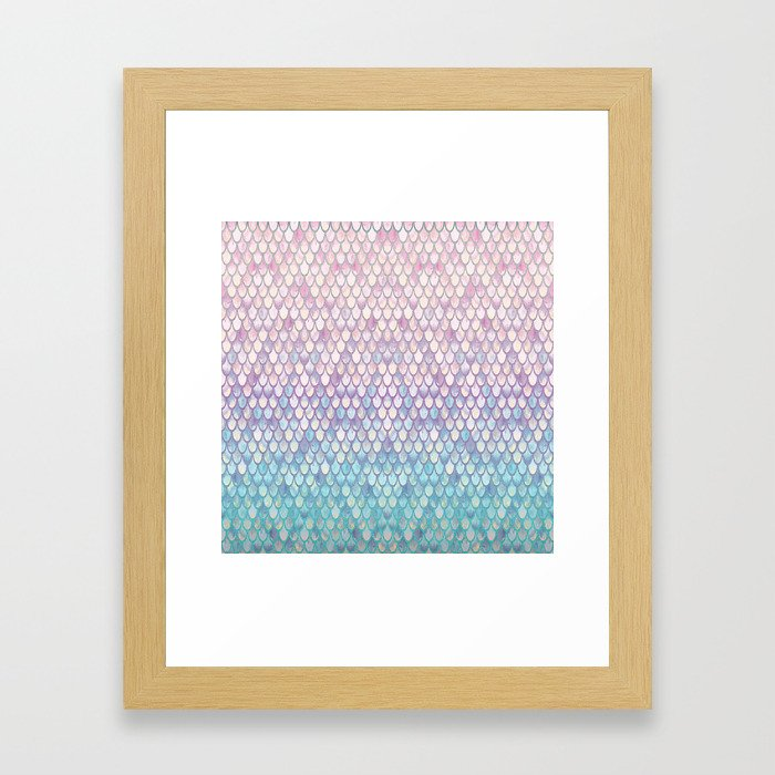 Spring Mermaid Scales Framed Art Print