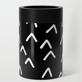 Black and White Minimalist Arrow Mountain Pattern Can Cooler