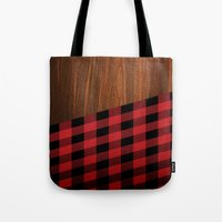 wooden Tote Bags featuring Wooden Lumberjack by Nicklas Gustafsson