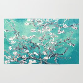 Vincent Van Gogh Almond Blossoms Turquoise Rug