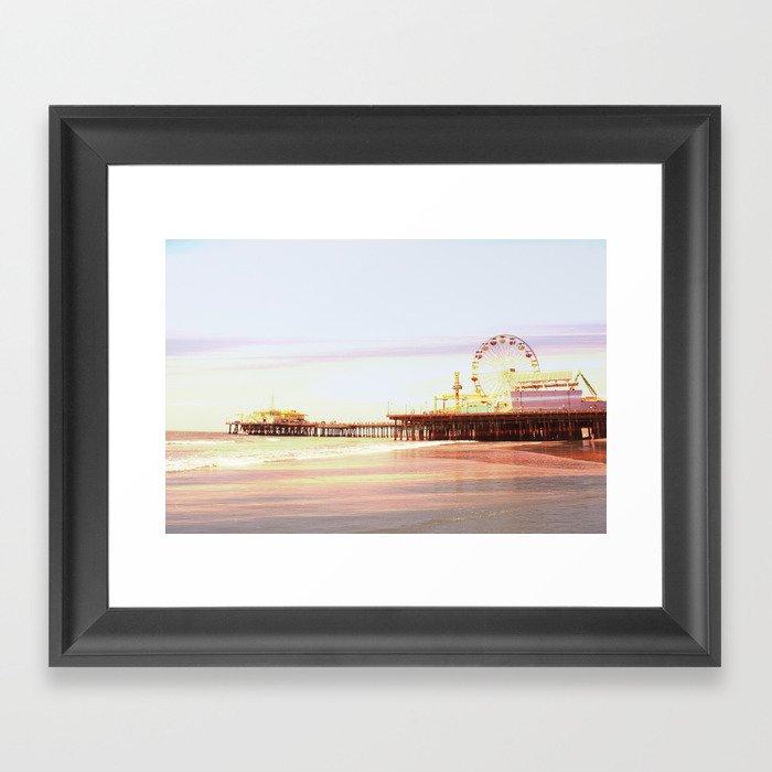 Santa Monica Pier Sunrise Framed Art Print