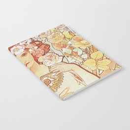 Rose by Alphonse Mucha 1897 // Vintage Girl with Red Hair Floral Love Design Notebook
