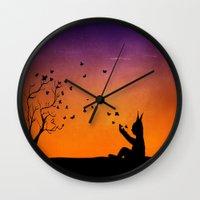 dream catcher Wall Clocks featuring Dream Catcher. by Nancy Woland