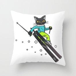 Ski action Throw Pillow