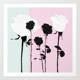 Roses with ink Art Print