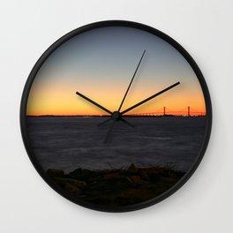 Jekyll Island Bridge at sunset Wall Clock