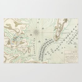 Vintage Map of The Battle of Yorktown (1781) Rug