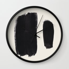 Mid Century Modern Minimalist Abstract Art Brush Strokes Black & White Ink Art Brush Strokes Wall Clock