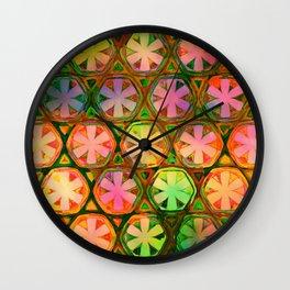 Rainbow Flower Octagons Twilight Wall Clock