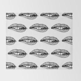 Sketchy Lips Throw Blanket