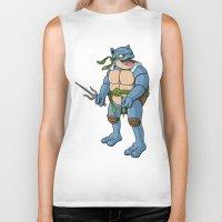 ninja turtle Biker Tanks featuring Ninja Turtle Blastoise by peterstokesdesign