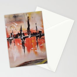 City on fire Stationery Cards