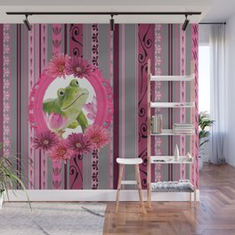 Frog in pink Frame stripes background Wall Mural