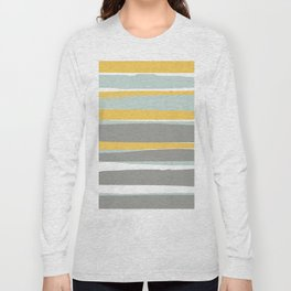Stripe Abstract, Sun and Beach, Yellow, Pale, Aqua Blue and Gray Long Sleeve T-shirt