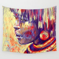 african Wall Tapestries featuring African portrait by Marta Zawadzka