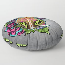 Boxer in White Fawn - Day of the Dead Sugar Skull Dog Floor Pillow
