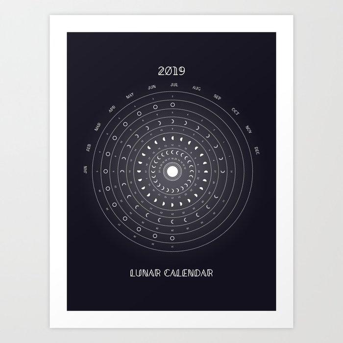 Lunar Phase Calendar 2019 2019 Lunar Phases Calendar Art Print by cafelab | Society6