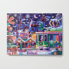 Christmas Market with Holiday Tram in Basel Metal Print
