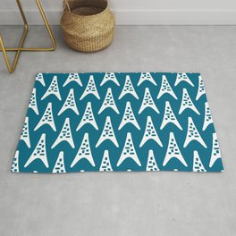 Mid Century Modern Boomerang Triangle Pattern 931 Peacock Blue Rug