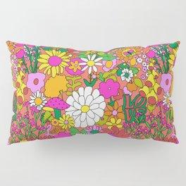 60's Groovy Garden in Neon Peach Coral Pillow Sham