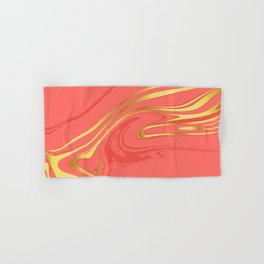 Coral Gold Marble Hand & Bath Towel