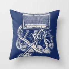 Rocker robot Navy Throw Pillow