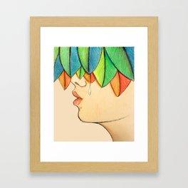 Hiding tears Framed Art Print