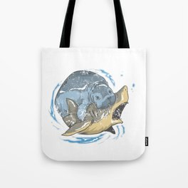 Funny Manatee Fighting A Shark Tote Bag