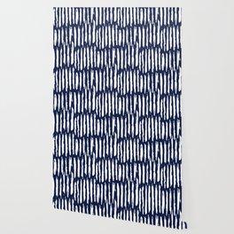 Vertical Dash White on Navy Blue Paint Stripes Wallpaper