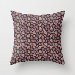 roses on indigo background, watercolour Throw Pillow