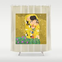 gustav klimt Shower Curtains featuring The Kiss (Lovers) by Gustav Klimt  by Alapapaju