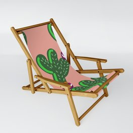 Prickly Cactus with Purple Flowers Sling Chair