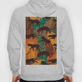 Safari orange green watercolor brushstrokes animal wild jaguar pattern Hoody