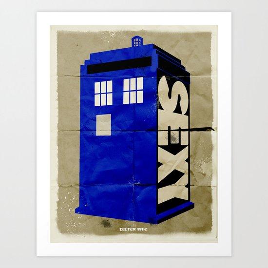 Minimalist Doctor Who  - SEXY TARDIS Art Print