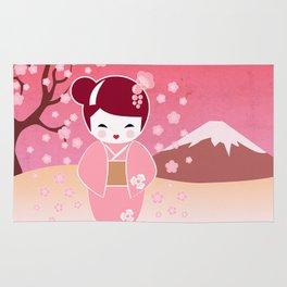 Sakura Japanese Doll Kokeshi Rug