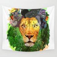 safari Wall Tapestries featuring lion safari by shiha manji
