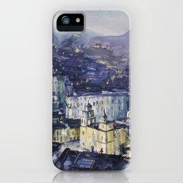 City of Guanajuato, Mexico at night.   Watercolor of Guanajuato. iPhone Case