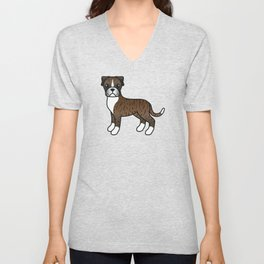 Cute Brindle Boxer Dog Cartoon Illustration Unisex V-Neck