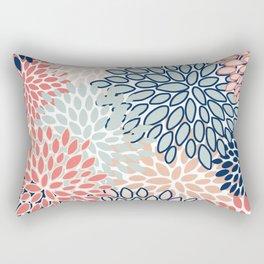 Festive, Floral Prints, Coral, Navy, Aqua Rectangular Pillow