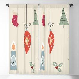 Retro Christmas Items, Bauble, Candle, Fir, Christmas Socks Blackout Curtain