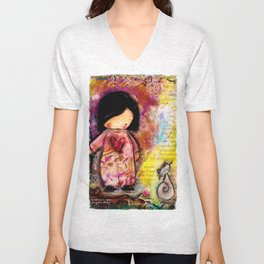 Playtime with Girl and Cat Unisex V-Neck