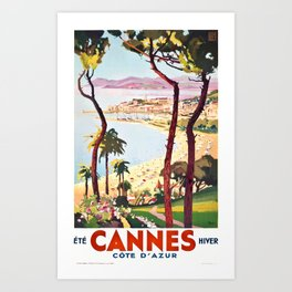 1938 France Cannes Cote D'Azur Travel Poster Art Print