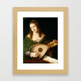 Bartolomeo Veneto and Workshop Lady Playing a Lute Framed Art Print