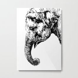 Thoughtful elephant Metal Print