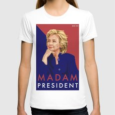 Hillary Poster  X-LARGE Womens Fitted Tee White