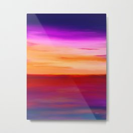 Painted Sunset Reflections Metal Print