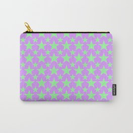 Green Star Pattern on Purple Carry-All Pouch
