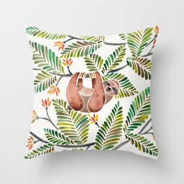 Happy Sloth – Tropical Green Rainforest Throw Pillow